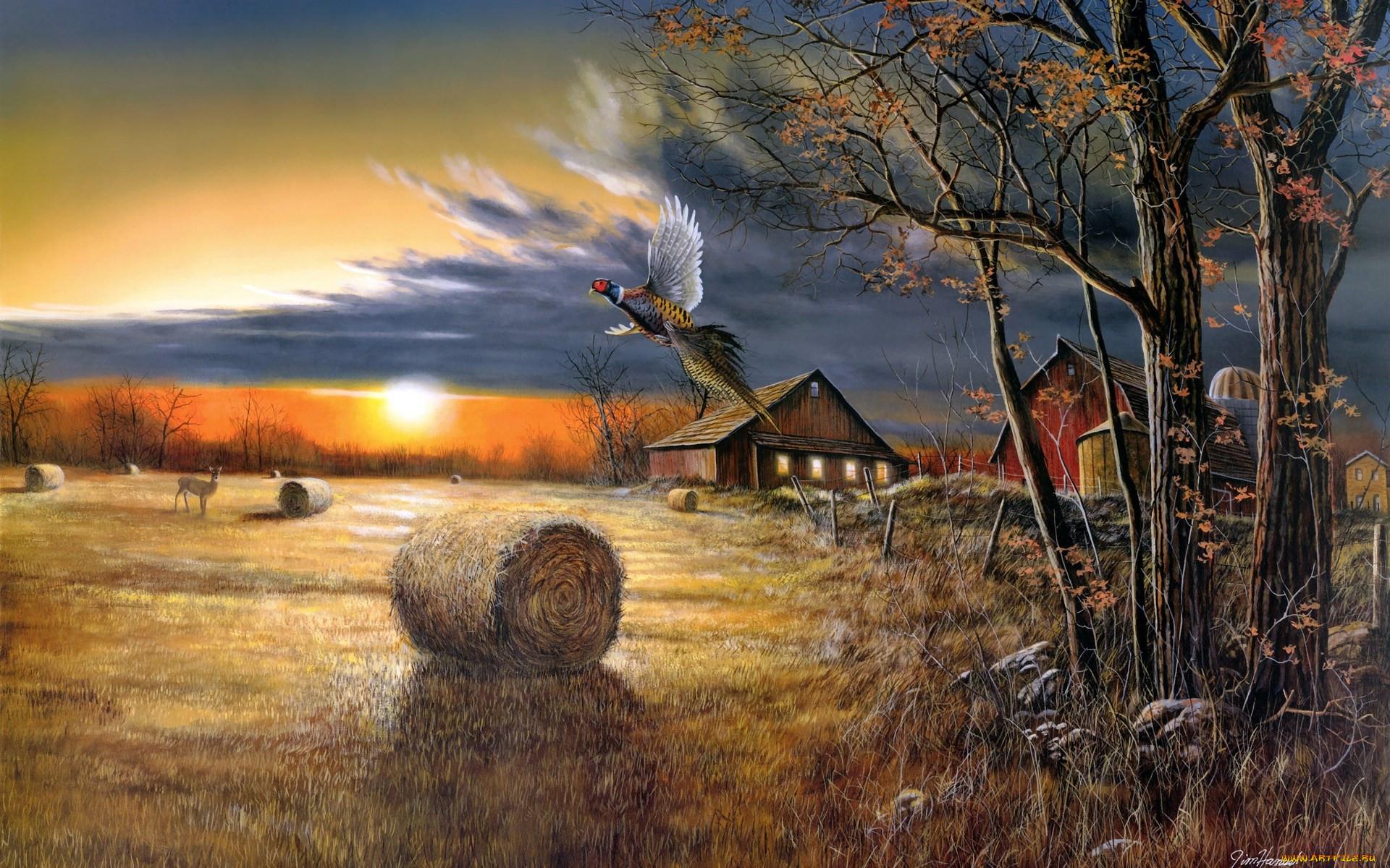 горин открытки осеннее утро в деревне помощник